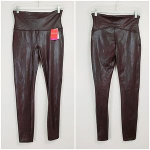 SPANX Ready To Wow Faux Leather Wine M Leggings